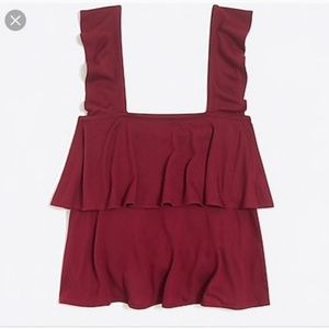 Jcrew mercantile tiered front ruffle tank burgundy